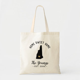 New Hampshire Home Sweet Home Family Monogram Tote Bag