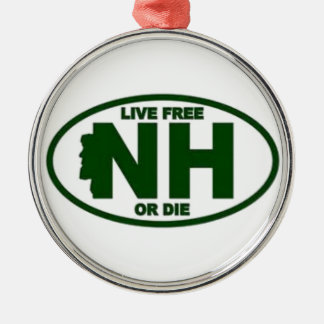 New Hampshire Live Fee or Die Metal Ornament