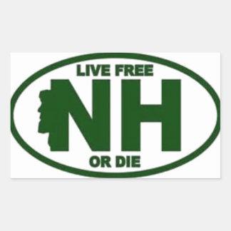 New Hampshire Live Fee or Die Rectangular Sticker