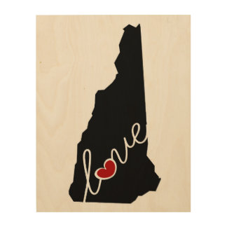 New Hampshire Love!  Gifts for NH Lovers Wood Print