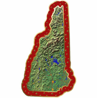 New Hampshire Map Christmas Ornament Cut Out