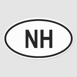 """New Hampshire """"NH"""" Oval Sticker"""