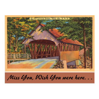 New Hampshire, Old Covered Bridge, White Mountains Postcard