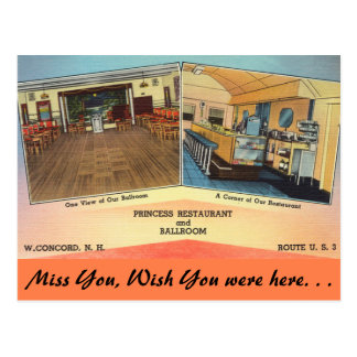 New Hampshire, Princess Restaurant, Concord Postcard