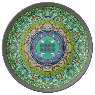 New Hampshire State Mandala Porcelain Plate