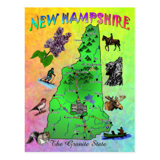 New Hampshire State map card