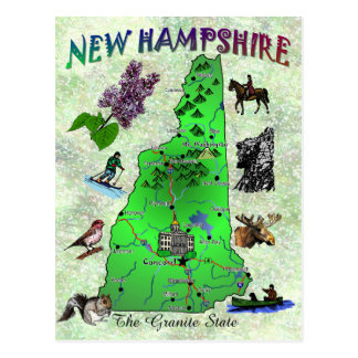 New Hampshire State map card Postcard