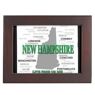 New Hampshire State Pride Map Silhouette Keepsake Box