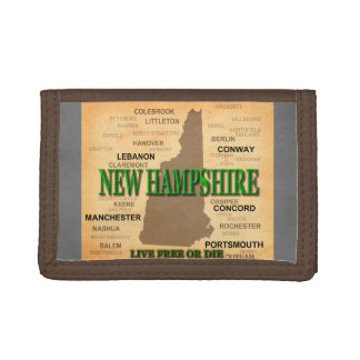 New Hampshire Vintage Map Tri-fold Wallets