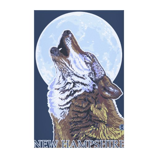 New HampshireHowling Wolf Gallery Wrapped Canvas