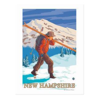 New HampshireSkier Carrying Skis Postcard