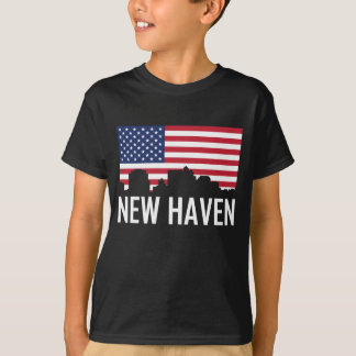 New Haven Connecticut Skyline American Flag T-Shirt