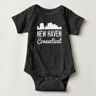 New Haven Connecticut Skyline Baby Bodysuit