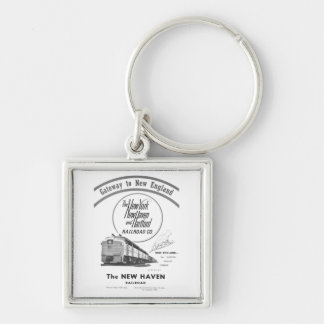 New Haven Railroad-Gateway to New England 1950 Silver-Colored Square Key Ring