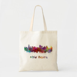 New Haven skyline in watercolor Tote Bag