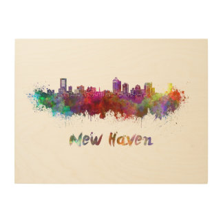 New Haven skyline in watercolor Wood Print