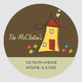 New Home Address Labels, Brown Classic Round Sticker