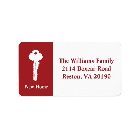 New Home Address Labels - Red