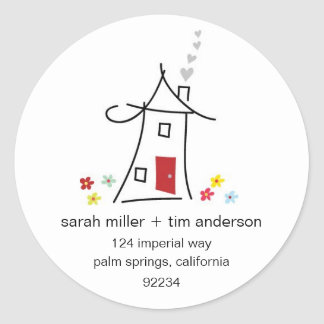 New Home Address Labels Round Sticker