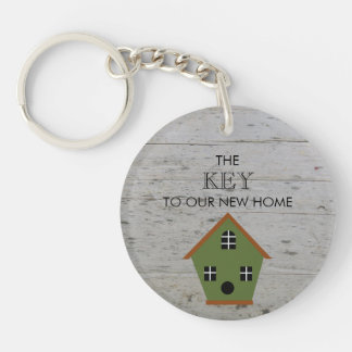 New Home Birdhouse key to our new home wood Key Ring