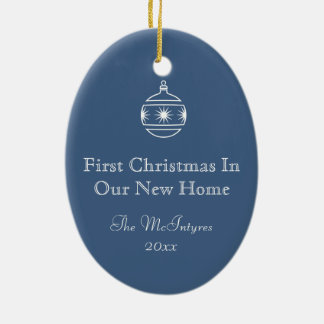 New Home Blueprint Drawing Blue and White Ceramic Ornament