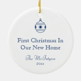 New Home Blueprint Drawing Blue and White Round Ceramic Decoration