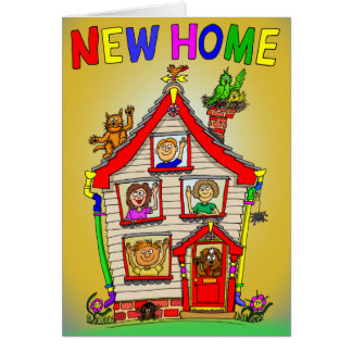 New Home Cartoon House Card