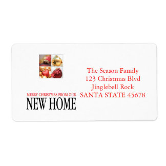 New Home Christmas ornaments collage Shipping Label