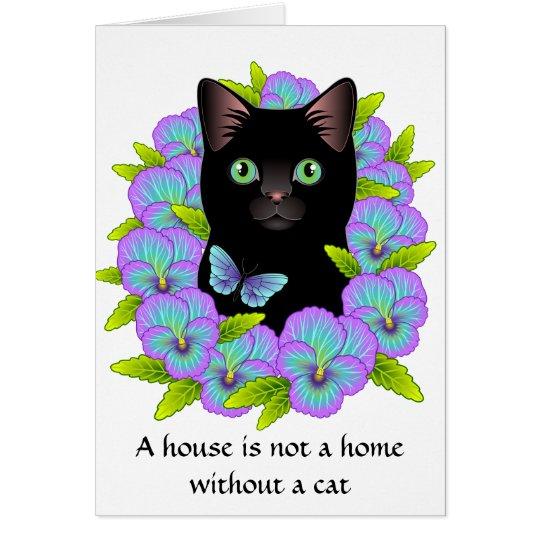 New Home Congratulations Card - Floral Cat cute
