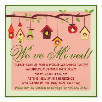 New home cute birdhouse party invitations