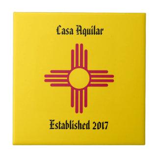 New Home New Mexico Zia Symbol Personalize Tile