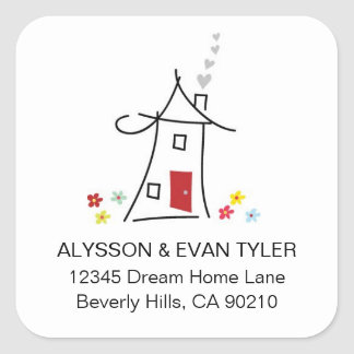 New Home Square Address Labels Square Sticker
