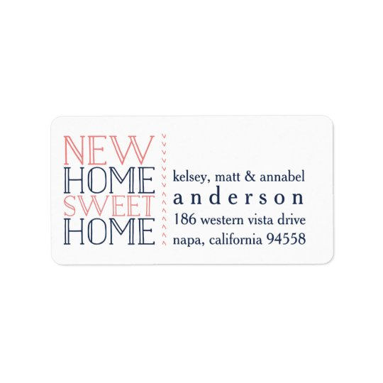 New Home Sweet Home Moving Announcement Address Label