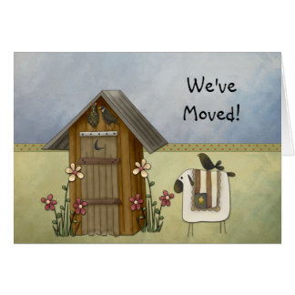 New Home We've Moved Country Crows Outhouse Stationery Note Card