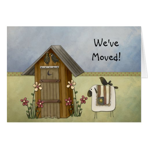 New Home We've Moved Country Crows Outhouse Greeting Card