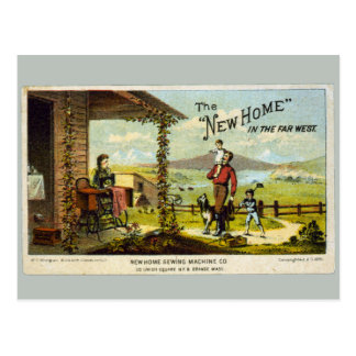 New Home with Sewing Machine Postcard