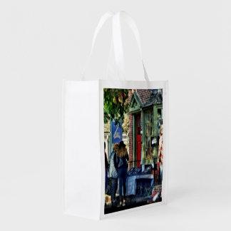 New Hope PA - Shopping Along Main Street Reusable Grocery Bag