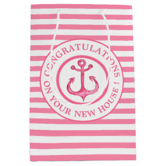 New House Nautical Pink Anchor Striped Gift Bag