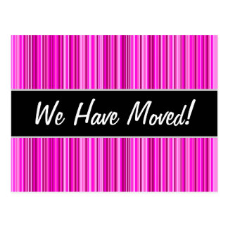 New House; Thin Magenta and Pink Stripes Pattern Postcard