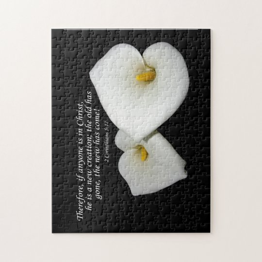 new in Christ scripture with lilies puzzle