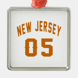 New Jersey  05 Birthday Designs Silver-Colored Square Decoration