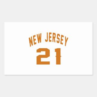 New Jersey  21 Birthday Designs Rectangular Sticker