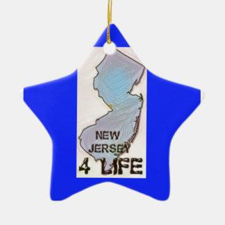 """New Jersey 4 Life"" State Map Pride Design Ceramic Ornament"