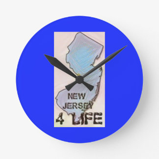 """""""New Jersey 4 Life"""" State Map Pride Design Round Clock"""