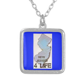 """""""New Jersey 4 Life"""" State Map Pride Design Silver Plated Necklace"""
