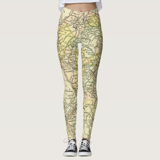 New Jersey Antique Map Travel State & Cities Leggings