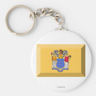 New Jersey Flag Gem Key Chains