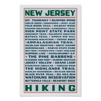 New Jersey Hiking Trails Poster