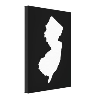 New Jersey in White and Black Gallery Wrap Canvas
