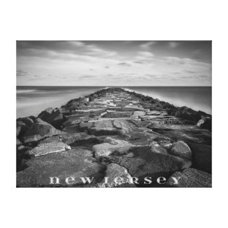 New Jersey Jetty Black and White Photo Canvas Prints
